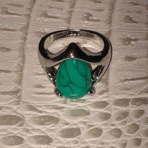 Turquoise Covered Teardrop Ring